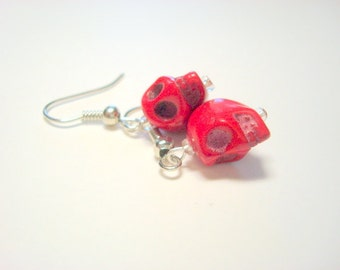 Tiny Red Day of the Dead Sugar Skull Earrings