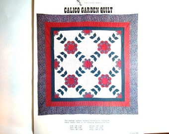 Calico Garden Quilt Pattern UNCUT Bed Quilt - Crib, Lap, Twin, Double, Queen or King. Flowers and Leaves to Enhance Your Bed