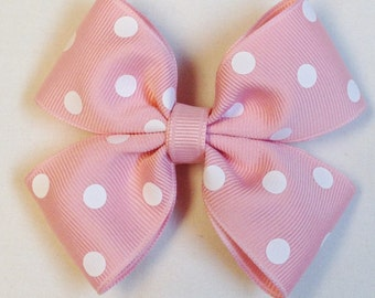 Pink Polka Dot Bow Pink Hair Bow Barrettes And Clips Girls Hair Bows Hair Accessories Pink And White Bow
