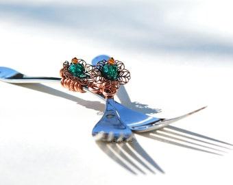 Wedding CAKE FORKS, Mr Mrs Cake Forks,  Copper Teal Flower, PEACOCK Wedding Decoration Ideas