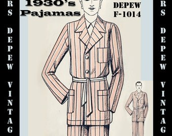 Menswear Vintage Sewing Pattern 1930's French Pajamas for Men in Any Size- Plus Size Included- Depew F-1014 -INSTANT DOWNLOAD-