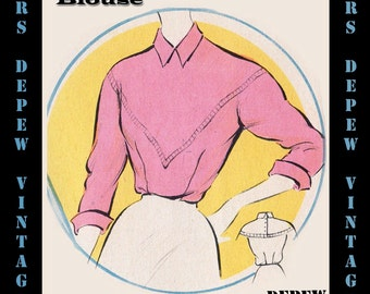 Vintage Sewing Pattern 1950's Blouse in Any Size - PLUS Size Included - Depew 6063 -INSTANT DOWNLOAD-