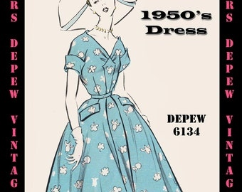Vintage Sewing Pattern 1950's Ladies' Short Sleeve Dress in Any Size - PLUS Size Included - Depew 6134 -INSTANT DOWNLOAD-