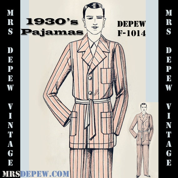 Men's Vintage Reproduction Sewing Patterns 1930s French Pajamas for Men in Any Size- Plus Size Included- Depew F-1014 -INSTANT DOWNLOAD- $7.50 AT vintagedancer.com