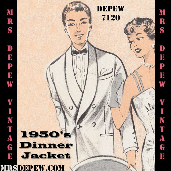 Men's Vintage Reproduction Sewing Patterns  1950s Mens Formal Tuxedo Jacket and Trousers in Any Size - PLUS Size Included - Depew 7120 -INSTANT DOWNLOAD- $8.50 AT vintagedancer.com
