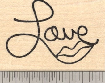 Love Lips Rubber Stamp, Saying G20917 Wood Mounted