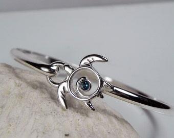 Sea Turtle Bracelet - Gemstone Turtle Teal Blue Topaz Sterling Silver Bangle Island Hook - Turtle Totem Jewelry Sea Life Nautical Birthstone