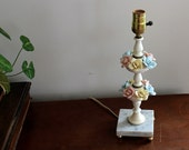 Vintage Hand Made Porcelain Flowers Marble Base Tiered Table Lamp Pink Blue Yellow