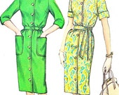 1960s Dress Pattern Simplicity 4559 1960s Front Button Slim Skirt Shirtdress Plus Size Womens Vintage Sewing Pattern Bust 39