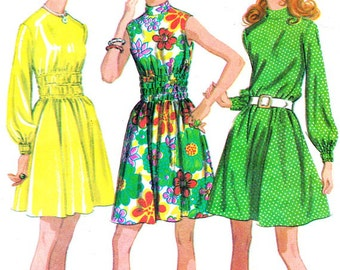 1970s Dress Pattern McCalls 2386 Boho Gathered Waist A Line Dress Long Sleeves Sleeveless Dress Womens Vintage Sewing Pattern Bust 32 1/2