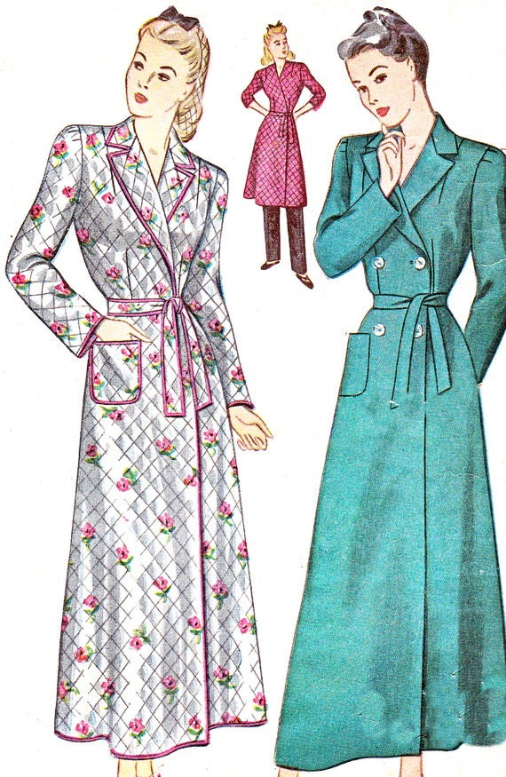 1940s Housecoat Pattern Simplicity 4759 Womens Robe By