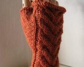 Fingerless Knit Handwarmers - Fall Knitwear.  Artemis in Ginger Cake. soft wool blend