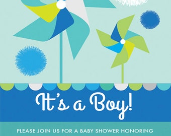 COLOR OPTIONS- Boy or Girl Pinwheel & Pom Poms Baby Shower Invitation, Pinwheel Baby Shower Invitation, Digital Print Your Own #110