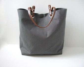 Gray Tote Bag, Grey Tote Bag, Linen Tote Bag, Beach Bag, Market Tote, Linen Handbag, Simple, Casual Bag, Day Bag