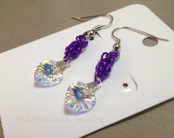 SALE Earrings Crystal heart, Purple Persian Chainmaille, yellow AB Swarovski crystal, hypoallergenic silver tone hooks, anodized aluminum
