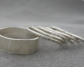 Silver Wedding Set - Grooved - Bumpy Road