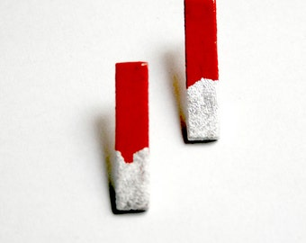 Red and silver.  Hand painted stud sticks earrings. Stainless steel posts. Minimalist earrings.