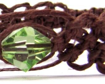 Peridot Green swarovski Elegant Hemp Bracelet