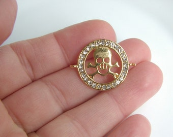 1pc- Matte Gold Plated Skull connector-25x20mm- (006-028GP)