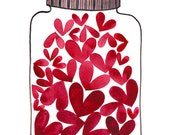 Jar of Love Print, giclee art print, Valentines Day art, heart illustration, watercolor print, spread the love, be mine, captured hearts