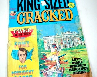 Vintage Cracked Magazine,  1970's King Size, Fonz For President Game, Comics, Funny, 1970's   (7332)