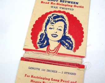 Vintage Nylon Re-Stringing Thread, Wax Twisted, Jewelry Supplies  (310-13)