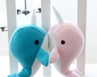 Handmade narwhal plush toy- Valentines day anniversary stuffed animal - blue and pink soft fleece whale narwal plushie