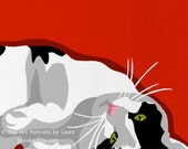 Black White and Red Pop Art Cat Print of Painting