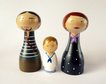FREE SHIPPING Personalized Family Dolls of 3 - OOAK - Custom Portrait - Wooden hand painted father mother mom child children girl boy baby