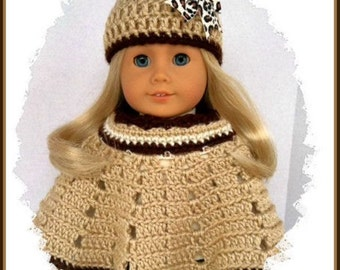 Handmade Doll Clothes Made To Fit American Girl, 2 Pc Crochet Poncho Set, Animal Print Hat, Fits 18 Inch Doll