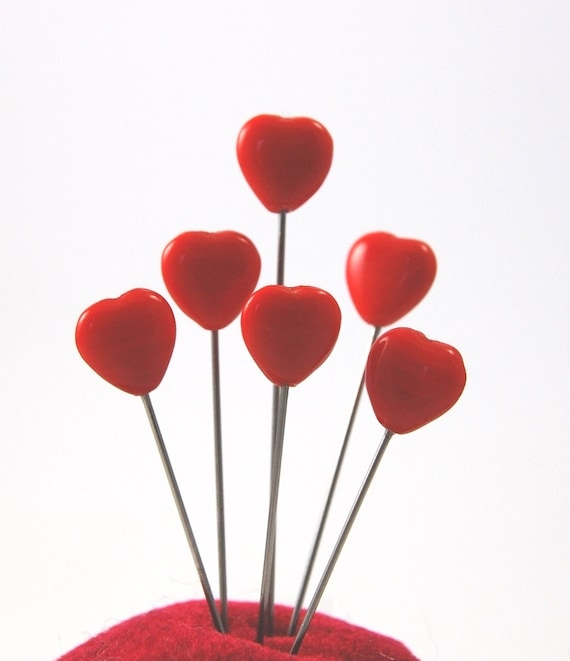 Glass Heart Straight Pin Topper - Set of 6