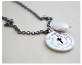 Fresh Water Peal, Be Still and Know that I am God, Psalm 46:70, Religious Jewelry, Confirmation Necklace, Baptism, Coin Pearl Necklace