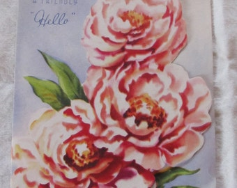 """vintage """"A FRIENDLY HELLO""""  -- 1940s greeting card"""
