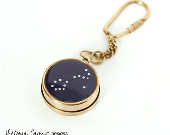 Working Compass Key Chain with Personalized Constellation, Custom Zodiac Choose your Constellation,  Keychain, Gift for Him