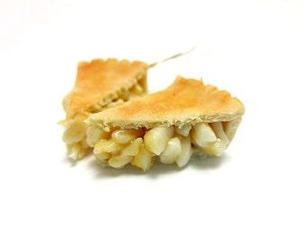 Apple Pie Earrings, Miniature Food Jewelry, Polymer Clay Food Jewelry