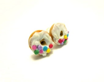 Vanilla Donut with Half Sprinkles Earrings, Miniature Food Jewelry, Polymer Clay Food Jewelry