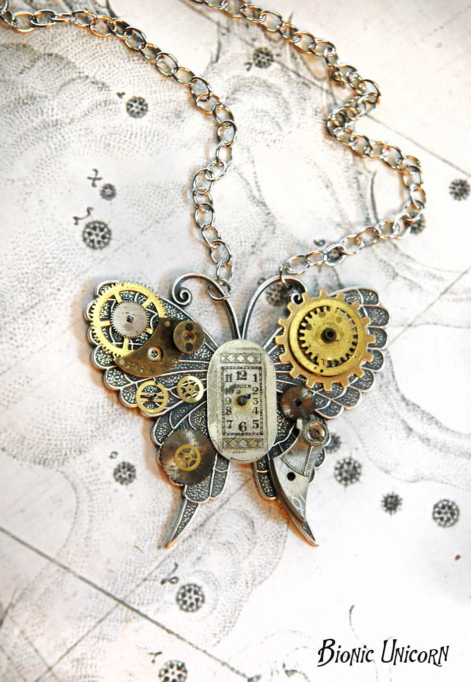Reserved for Michelle Steampunk Butterfly Necklace Custom