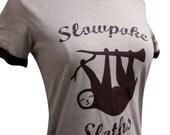 SLOTH T-Shirt - Slowpoke Sloths Sports Team Ringer Shirt - (Ladies Sizes S, M, L, XL)