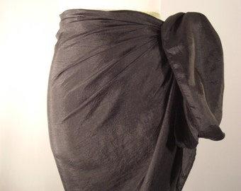 Mini Sarong - Short Pareo - Crinkled Silky Satin -  Shiny Black  Sarong - Swimsuit Cover up - Beach Skirt - Beachwear
