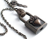 Chained and Locked Heart - Steampunk Padlock Necklace