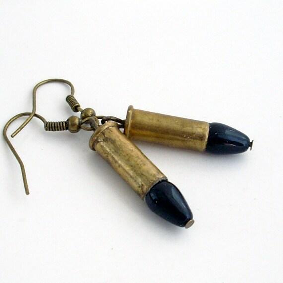 Element of Danger - Jet Black - Tiny Brass Bullet Earrings