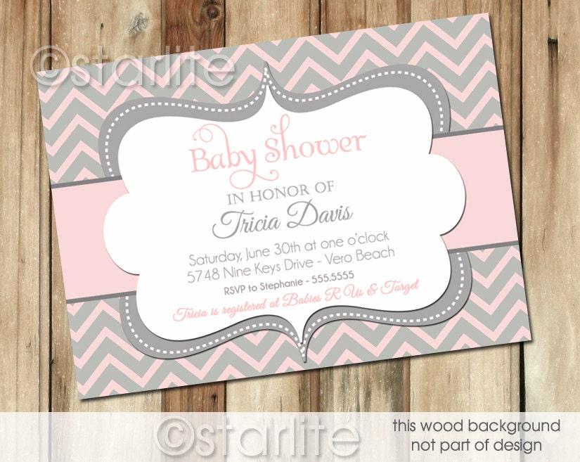chevron pink and gray grey baby shower invitation by starwedd