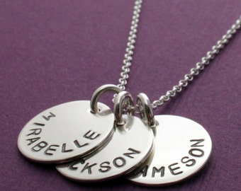Name Jewelry - THREE Name Personalized Necklace in Sterling Silver - Hand Stamped, Engraved Mom Necklace - Baby Name Necklace