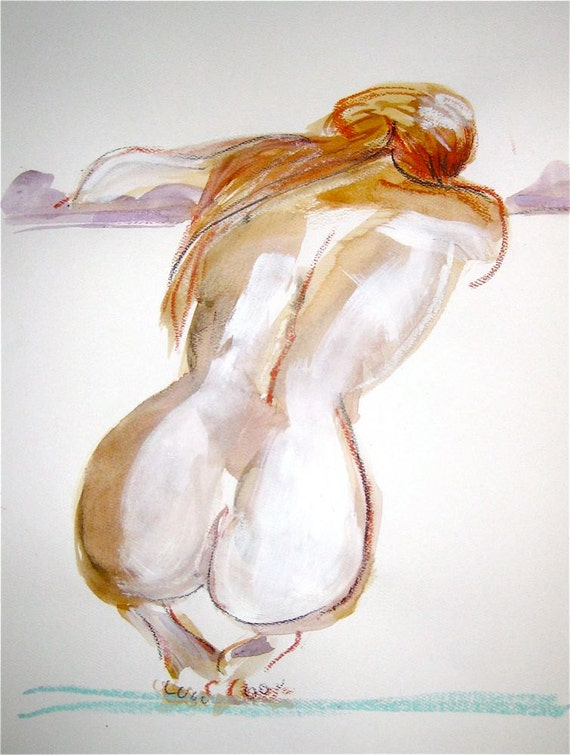 Nude painting- #1199 original watercolor painting by Gretchen Kelly