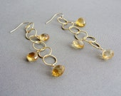 Citrine Earrings, Citrine Jewerly, Chain Link Earrings, Birthstone Jewelry, Birthstone Earrings, Dangle Earrings, Yellow Earrings