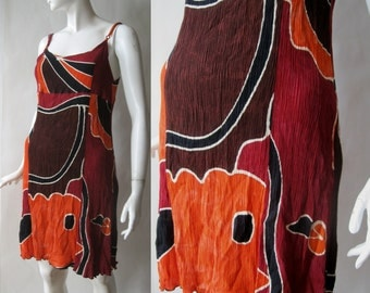 Crinkle crepe dress, abstract print, spaghetti straps, orange, black, deep brick red, and white, early 1990's, medium / large
