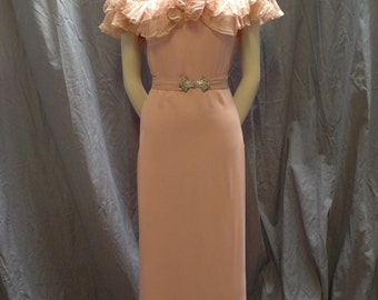 1930's pink rayon off the shoulder, dress. Extra small.