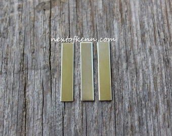 3 Pack 1/4 inch x 1.25 inch 20 gauge Sterling Silver Rectangle Name Tags Jewelry Supplies