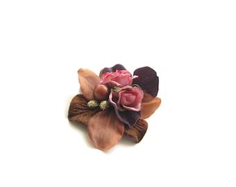 Flower hair clip, brown purple pink hair accessory - Nightingale