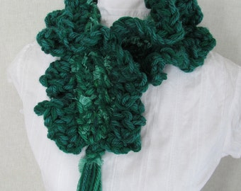 Emerald Fluffy Neck Warmer Kelly Green Ruffled Scarf